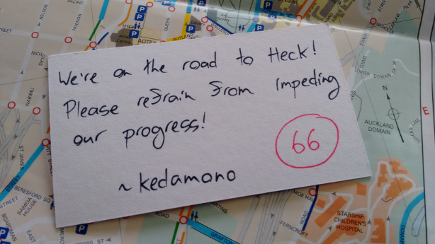 We're on the road to Heck! Please refrain from impeding our progress!