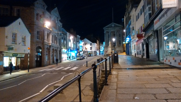 Market Jew Street at night, Penzance, Cornwall