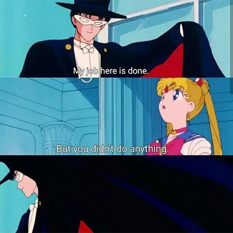 "Sailor Moon / Tuxedo Mask - ""My work here is done""."